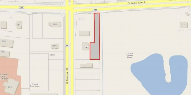 Aerial map view of the land lot off of Orange Ave.